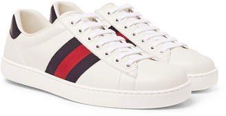 Ace Watersnake-Trimmed Leather Sneakers