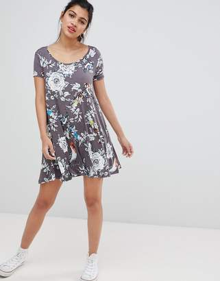 Brave Soul Swing Dress with Keyhole Back in Floral Bird Print