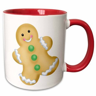 3dRose Cute Gingerbread Man Illustration - Two Tone Red Mug, 11-ounce