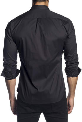 Jared Lang Men's Semi-Fitted Long-Sleeve Button-Down Shirt with Paisley Cuffs