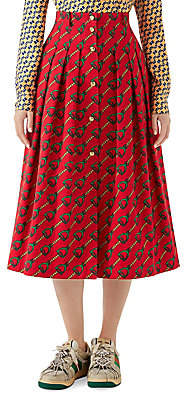 Gucci Women's Stirrup Rain Print Button Midi Skirt