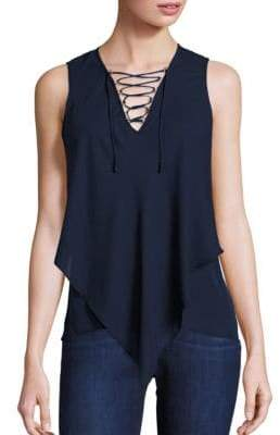 Derek Lam 10 Crosby Sleeveless Lace-Up Handkerchief Top
