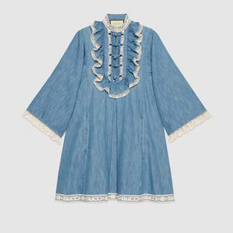 Gucci Denim tunic with lace detail
