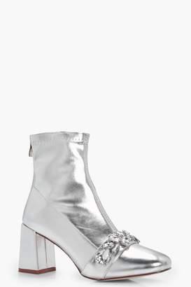 boohoo Metallic PU Embellish Trim Block Heel Sock Boots