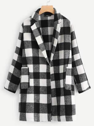 Shein Plus Notch Collar Checkered Coat