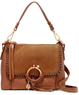 See by Chloe Joan Small Whipstitched Suede-paneled Textured-leather Shoulder Bag - Tan