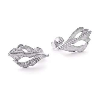 Fly London Chupi - I Can Baby Swan Feather Stud Earrings In Silver