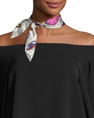Anna Coroneo Mini Square Silk Twill Cocktail Scarf, Pink/White/Multicolor