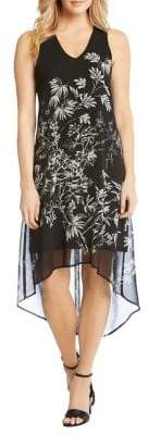 Karen Kane Sketched Floral Hi-Lo Hem Dress