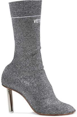 Vetements Logo-print Lurex Sock Boots