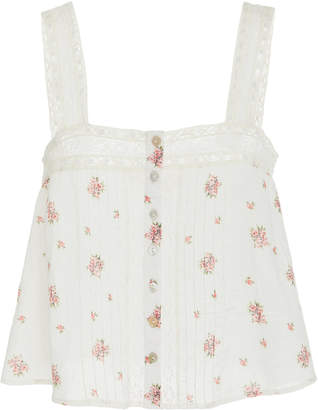 LoveShackFancy Daisy Lace-Detailed Floral-Print Cotton Top