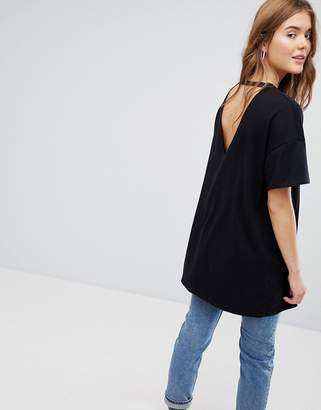 Bershka Longline Tee With Hardware