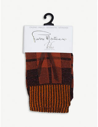 Pierre Mantoux Keith checked cotton-blend ankle socks