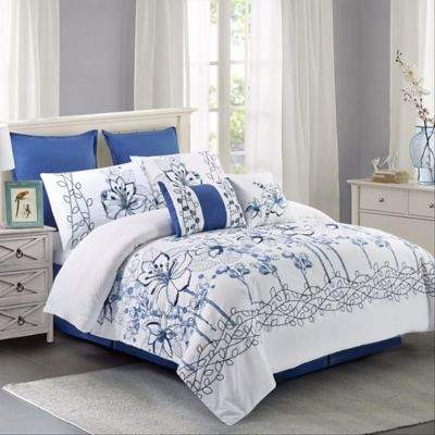 Wonder Home Heritage 8-Piece Queen Comforter Set in Blue