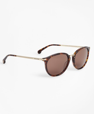 bd93888ae8 Brooks Brothers Tortoise Classic Round Sunglasses