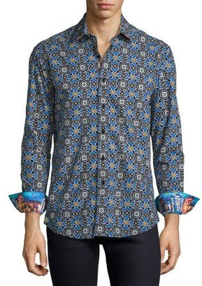 Robert Graham Mosaic Tile-Print Sport Shirt, Blue $248 thestylecure.com