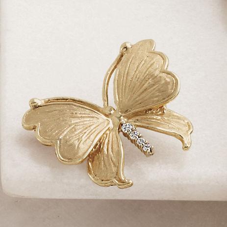 Gump's Gold & Diamond Butterfly Brooch