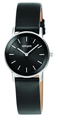 Am.pm. Am : Pmレディースpd131-l145スチールケースブラックレザーストラップクォーツ腕時計