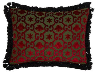 Gucci Gg Jacquard Velvet Cushion - Red Multi