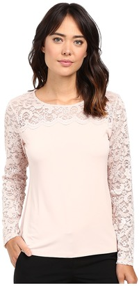 Calvin Klein Long Sleeve Top with Lace Yoke and Sleeve $69.50 thestylecure.com