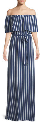 Alice + Olivia Grazi Off-the-Shoulder Striped Maxi Dress