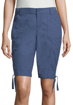 ST. JOHN'S BAY Womens Mid Rise 9 1/2 Cargo Short - Petite