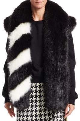 Off-White Faux-Fur Striped Gilet
