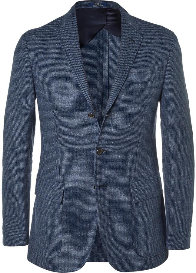 Polo Ralph LaurenPolo Ralph Lauren Blue Puppytooth Linen and Wool-Blend Blazer