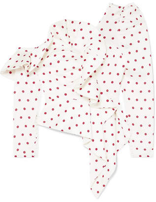 Self-Portrait Off-the-shoulder Polka-dot Satin Blouse - Ivory