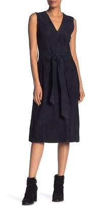 Frame Suede V-Neck Tie Waist Dress