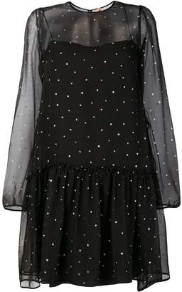 No.21 glitter star sheer-layer dress
