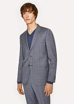 Paul Smith Men's Slim-Fit Two-Tone Navy And Brown Check Wool Blazer