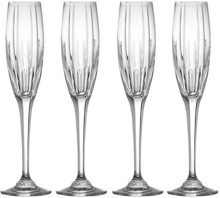 Arctic Lights Set of 4 Crystal Champagne Flutes