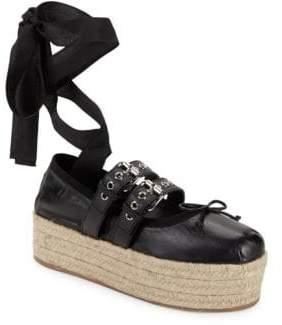 Miu Miu Bow Ankle-Strap Espadrilles