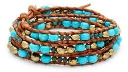 Chan Luu Multi-Stone & Leather Wrap Bracelet