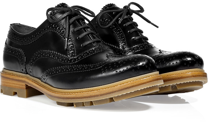 Jil Sander Black Brogue Shoes