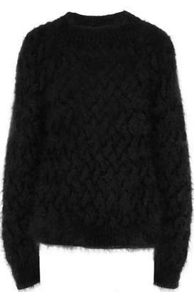 Balmain Cable-Knit Angora-Blend Sweater