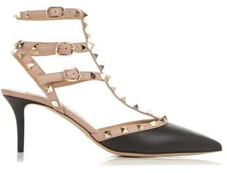 Valentino Rockstud Leather Pumps - Womens - Black Nude