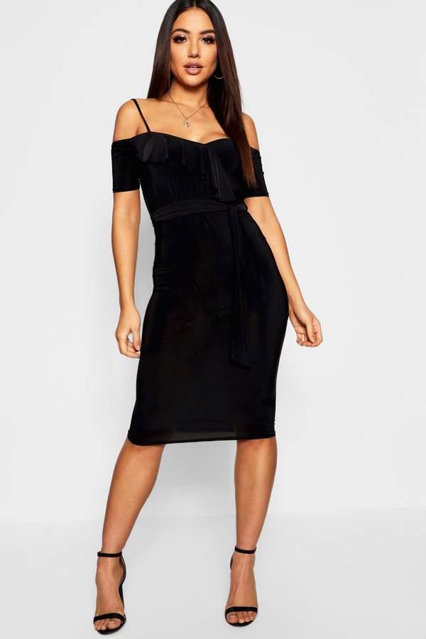 Wrap Ruffle Cold Shoulder Midi Dress