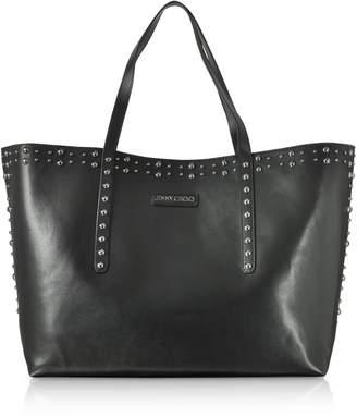 Jimmy Choo Pimlico Black Leather Tote Bag W/pearl Studs