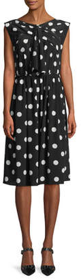 Marc Jacobs Sleeveless Medium Dot-Print Silk Dress w/ Bow