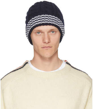 Thom Browne Navy Cashmere Cable Knit Four Bar Beanie