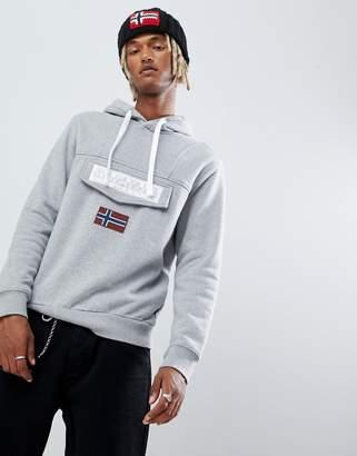 Napapijri Burgee logo hoodie in gray