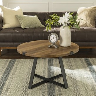 """Manor Park 30"""" Rustic Urban Industrial Wood and Metal Wrap Round Coffee Table - Reclaimed Farmhouse/Black"""