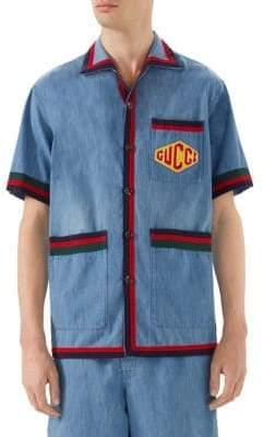 Gucci Stone Bleach Denim Logo Shirt