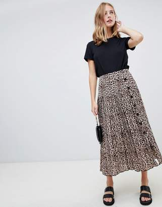 Asos DESIGN pleated midi skirt with buttons in leopard print