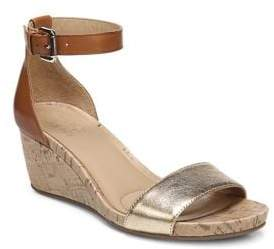 Naturalizer Cami Two Tone Leather Wedge Sandals