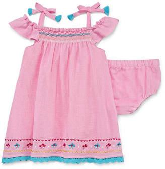 Nanette Baby Sleeveless Guaze Pink Dress - Baby Girls