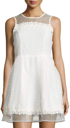 Romeo & Juliet Couture Striped Sleeveless Fit-&-Flare Dress, White $89 thestylecure.com