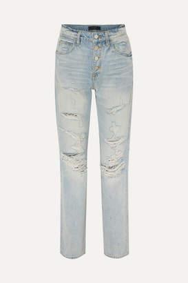 Amiri Distressed High-rise Straight-leg Jeans - Indigo